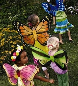 "Set Of 4 21"" Lightwegiht Glittery Nylon Butterfly Wings With Elastic Strapssave $9.94 On The Special!"