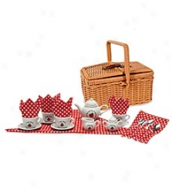 23-piece Porcelain Ladybug Tea Set With Twig Basket