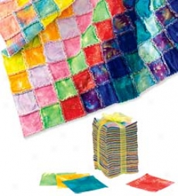 246 Piece Tie Dye Patchwork Fun Fringe Flannel Quilt-making Kit