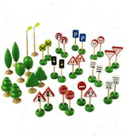 34-piece Wheel Town Traffic Signs, Trees, And Lights Combo