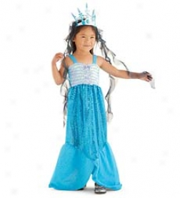 "40"" Machine Washable Blue Satin Crepe With Sequins eMrmaid Costume"