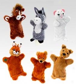 "9"" Animal Hand Puppets, Set Of 2"