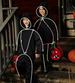 Black Polyester Jumper With Attached Glowsticks Glowkids Costume
