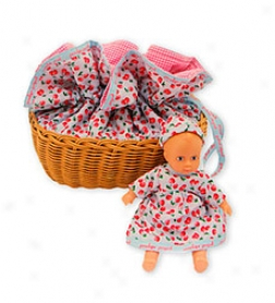 Detailed Penelope Peapod Doll With Matching Fabric-covered Cradle/purse