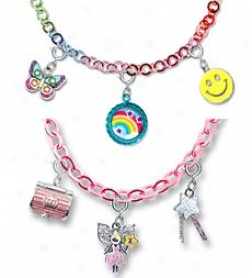 "Charm It High-quality 7"" Silver Plated Bracelet With 3 Charms Set"