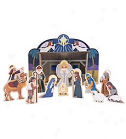 Child-friendly 15-piece Wooden Melissa And Doug Nativity Set