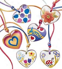 Arrange Of 12 Transparent Color My Heart Pendatn Kit Party Pack