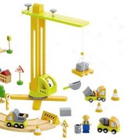 Construction Wheel Town Crane Play Set