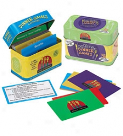 Dinner Games Card Set With Colorful Metal Tin