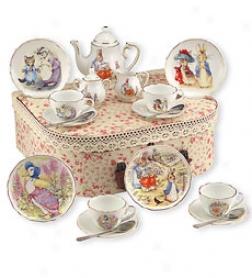 Dishwasher Safe Porcelain Beatrix Potter Set With Custom Stotage Container