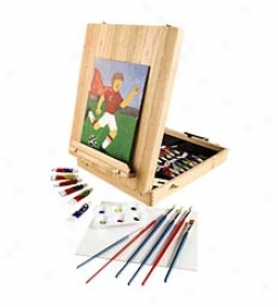 Easel Artist Set With Wooden Elm Box And Tabletop Easel