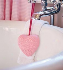 Fine Handmade Heart-shaped Soap-on-a-rope With Rose Fragrance