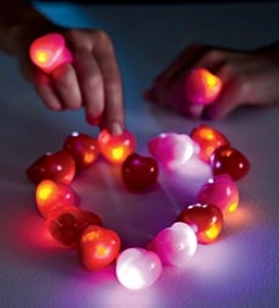 Flashing Heart Rings Party Pack Of 32