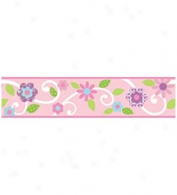 Floral Scroll Peel & Stick Rpeositionable Wall Decal Borders