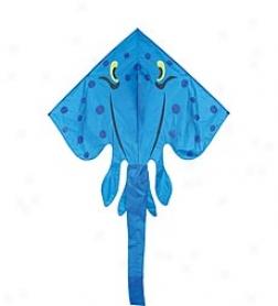 Giant Blue Nylon Stingray Kite