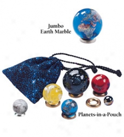 Set Of 6 Marble Planets-in-a-pouch