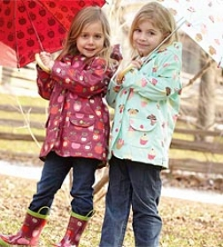 Hatley 100% Polyurethane Rain Jacket With Front Snaps, Pockets, And Super-soft Cotton/poly Terry Lining For Girls