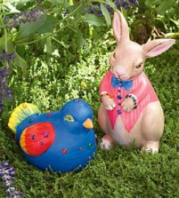 Jeweled Bird And Bunny Garden Kits With Weather-resistant Paints And Self Stick Gems
