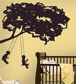 Kids On Swings Repositionable Giant Wall Decals