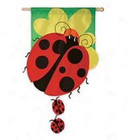 Ladybug Family House Flag