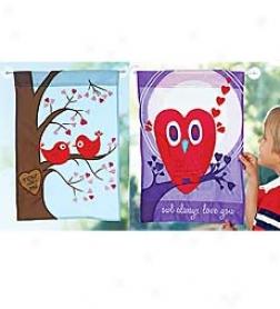 Lovebirds Valentine Flag