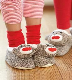 Machine Washable Calssic Infant Sock Monkey Slippers Size 7-12 Mos. With Non-skid Soles And Elastic Bands