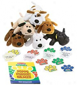 Melissa & Doug Puppy Pursuit Game 10-game Set Wiyh 6 Plush Puppies And Cards