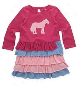 Merry-go-round Horses Girls' Tiered Dress