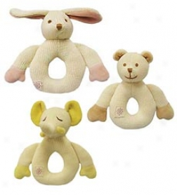 Miyim Natural Cotton-filled Machine Washable Kjitted First Friend Rattle With Embroided Face And Velour Details