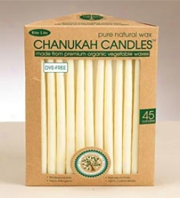 Natural Dye-free Wax Chanukah Candles, Set Of 45