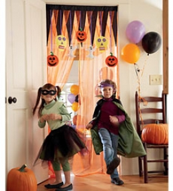 Neon Orange Net Make A Halloween Entrance Curtain With Tension Rod