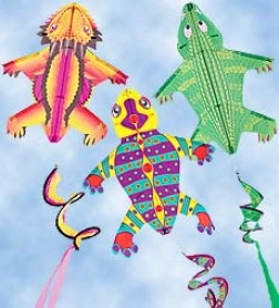 Nylon Tailspin Critter Kites, Set Of 3