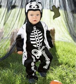 One-piece Bodysuit With Snap-bkttom Pant Lil Bones Costume With Attached Jacket And Hood