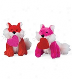 Plush Valentine Foxes, Set Of 2