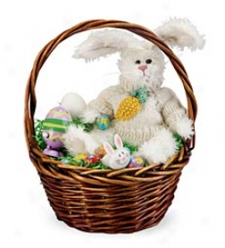 Ready-to-give Easter Bunny Gift Basket Set With Plush Bunny