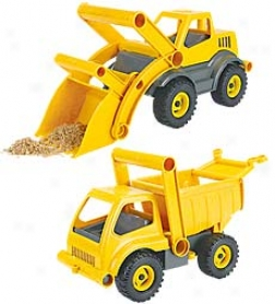 Recycled Pin Sawdust And Reclaimed Plastic Eco-truck With Easy-grab Handles And Flip-open Cabs