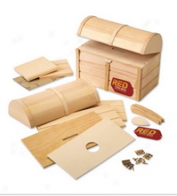 Red Tool Box Wood Treasure Chest Craft Kit Upon Hardware