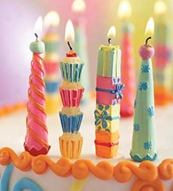 Set Of 12 Colorful Cloud Buster Party Candles