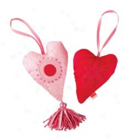 Set Of 2 Embelished Puffy Heart Door Hanger Decorations