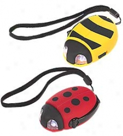 Set Of 2 Long-lasting Led Bug Eyes Flashlights With Wrist Strap