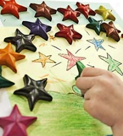 "Set Of 20 2"" Non-toxic Recycled Eco Star Crayons"