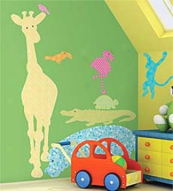 Set Of 24 Colorful Patterned Jungle Creature Decorative Silhouette Wall Stickers