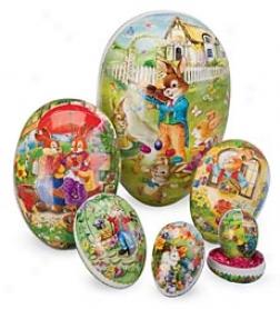 Set Of 6 Nesting Decoupage Easter Eggs