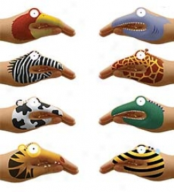 Set Of 8 Non-toxic Talking Animal Hand Tatoos