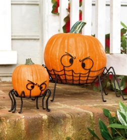 Spider Pumpkin Holders, Set Of 2