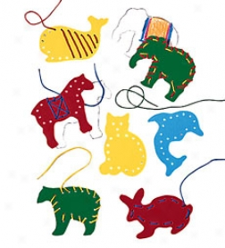 Sturdy Chipboard Lacing And Tracing Animals With Plastic-tipped Laces