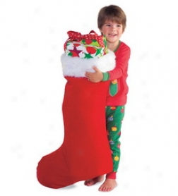Super-sizex Red Velveteen Stocking Attending White Fur Cuffbuy 2 Or More At $12.98 Each
