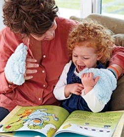 Tickle Monster Laughter Kit Interactive Book With Nappy Blue Mitts