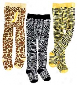 Ultra-soft Organic Cotton Animal-print Tights With Non-skid Soles