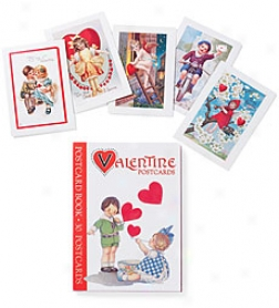 Vintage Valentine Postcard Book, Set Of 30